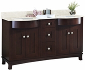American Imaginations 60-in. W Floor Mount Coffee Vanity Set For 3H4-in. Drilling Beige Top White UM Sink