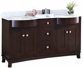 American Imaginations 60-in. W Floor Mount Coffee Vanity Set For 3H4-in. Drilling Bianca Carara Top Biscuit UM Sink