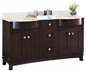 60-in. W Floor Mount Coffee Vanity Set For 3H8-in. Drilling Beige Top Biscuit UM Sink