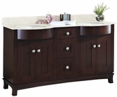 American Imaginations 60-in. W Floor Mount Coffee Vanity Set For 3H8-in. Drilling Beige Top White UM Sink