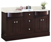 60-in. W Floor Mount Coffee Vanity Set For 3H8-in. Drilling Beige Top White UM Sink