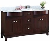 60-in. W Floor Mount Coffee Vanity Set For 3H8-in. Drilling Bianca Carara Top Biscuit UM Sink