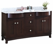 American Imaginations 60-in. W Floor Mount Coffee Vanity Set For 3H8-in. Drilling Bianca Carara Top White UM Sink