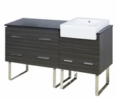 American Imaginations 60-in. W Floor Mount Dawn Grey Vanity Set For 1 Hole Drilling Black Galaxy Top