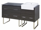 American Imaginations 60-in. W Floor Mount Dawn Grey Vanity Set For 3H4-in. Drilling Black Galaxy Top