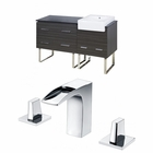 American Imaginations 60-in. W Floor Mount Dawn Grey Vanity Set For 3H8-in. Drilling