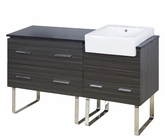 American Imaginations 60-in. W Floor Mount Dawn Grey Vanity Set For 3H8-in. Drilling Black Galaxy Top
