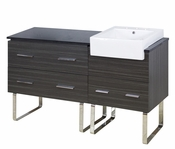 60-in. W Floor Mount Dawn Grey Vanity Set For 3H8-in. Drilling Black Galaxy Top