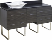 American Imaginations 60-in. W Floor Mount Dawn Grey Vanity Set For Deck Mount Drilling Black Galaxy Top