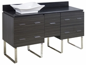 American Imaginations 60-in. W Floor Mount Dawn Grey Vanity Set For Wall Mount Drilling Black Galaxy Top