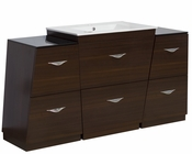 60-in. W Floor Mount Wenge Vanity Set For 1 Hole Drilling
