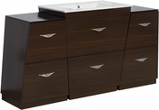 60-in. W Floor Mount Wenge Vanity Set For 3H4-in. Drilling