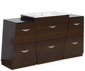 American Imaginations 60-in. W Floor Mount Wenge Vanity Set For 3H8-in. Drilling