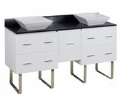 60-in. W Floor Mount White Vanity Set For Deck Mount Drilling Black Galaxy Top