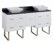American Imaginations 60-in. W Floor Mount White Vanity Set For Deck Mount Drilling Black Galaxy Top