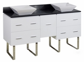 American Imaginations 60-in. W Floor Mount White Vanity Set For Wall Mount Drilling Black Galaxy Top