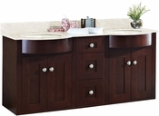 60-in. W Wall Mount Coffee Vanity Set For 1 Hole Drilling Beige Top Biscuit UM Sink