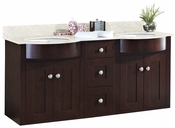 American Imaginations 60-in. W Wall Mount Coffee Vanity Set For 1 Hole Drilling Beige Top White UM Sink