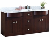 American Imaginations 60-in. W Wall Mount Coffee Vanity Set For 3H8-in. Drilling Bianca Carara Top White UM Sink