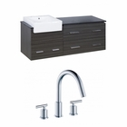 American Imaginations 60-in. W Wall Mount Dawn Grey Vanity Set For 3H8-in. Drilling