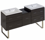 American Imaginations 61.5-in. W Floor Mount Dawn Grey Vanity Set For 1 Hole Drilling