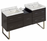American Imaginations 61.5-in. W Floor Mount Dawn Grey Vanity Set For 1 Hole Drilling Bianca Carara Top Biscuit UM Sink