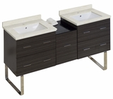 American Imaginations 61.5-in. W Floor Mount Dawn Grey Vanity Set For 1 Hole Drilling White UM Sink