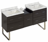American Imaginations 61.5-in. W Floor Mount Dawn Grey Vanity Set For 3H4-in. Drilling Bianca Carara Top Biscuit UM Sink