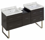 American Imaginations 61.5-in. W Floor Mount Dawn Grey Vanity Set For 3H4-in. Drilling Bianca Carara Top White UM Sink