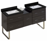 American Imaginations 61.5-in. W Floor Mount Dawn Grey Vanity Set For 3H4-in. Drilling Black Galaxy Top White UM Sink