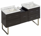 American Imaginations 61.5-in. W Floor Mount Dawn Grey Vanity Set For 3H8-in. Drilling Bianca Carara Top Biscuit UM Sink
