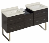 American Imaginations 61.5-in. W Floor Mount Dawn Grey Vanity Set For 3H8-in. Drilling Biscuit UM Sink