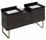 American Imaginations 61.5-in. W Floor Mount Dawn Grey Vanity Set For 3H8-in. Drilling Black Galaxy Top Biscuit UM Sink