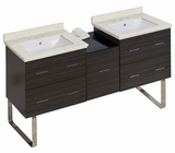 American Imaginations 61.5-in. W Floor Mount Dawn Grey Vanity Set For 3H8-in. Drilling White UM Sink