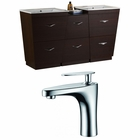 61.5-in. W Floor Mount Wenge Vanity Set For 1 Hole Drilling