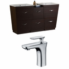 American Imaginations 61.5-in. W Floor Mount Wenge Vanity Set For 1 Hole Drilling