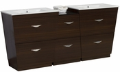 American Imaginations 61.5-in. W Floor Mount Wenge Vanity Set For 3H4-in. Drilling