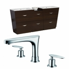 American Imaginations 61.5-in. W Floor Mount Wenge Vanity Set For 3H8-in. Drilling