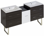 American Imaginations 61.5-in. W Floor Mount White-Dawn Grey Vanity Set For 1 Hole Drilling