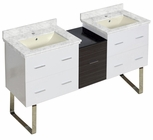 61.5-in. W Floor Mount White-Dawn Grey Vanity Set For 1 Hole Drilling Bianca Carara Top Biscuit UM Sink