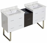 American Imaginations 61.5-in. W Floor Mount White-Dawn Grey Vanity Set For 1 Hole Drilling Bianca Carara Top White UM Sink