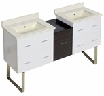 61.5-in. W Floor Mount White-Dawn Grey Vanity Set For 1 Hole Drilling Biscuit UM Sink