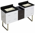 61.5-in. W Floor Mount White-Dawn Grey Vanity Set For 1 Hole Drilling Black Galaxy Top Biscuit UM Sink