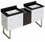 61.5-in. W Floor Mount White-Dawn Grey Vanity Set For 1 Hole Drilling Black Galaxy Top White UM Sink