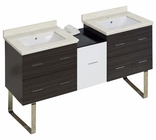 61.5-in. W Floor Mount White-Dawn Grey Vanity Set For 1 Hole Drilling White UM Sink