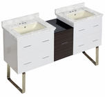 61.5-in. W Floor Mount White-Dawn Grey Vanity Set For 3H4-in. Drilling Bianca Carara Top Biscuit UM Sink