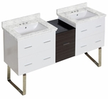 61.5-in. W Floor Mount White-Dawn Grey Vanity Set For 3H4-in. Drilling Bianca Carara Top White UM Sink