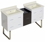 61.5-in. W Floor Mount White-Dawn Grey Vanity Set For 3H4-in. Drilling Biscuit UM Sink