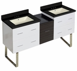61.5-in. W Floor Mount White-Dawn Grey Vanity Set For 3H4-in. Drilling Black Galaxy Top Biscuit UM Sink