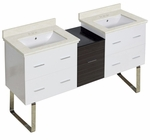 61.5-in. W Floor Mount White-Dawn Grey Vanity Set For 3H4-in. Drilling White UM Sink
